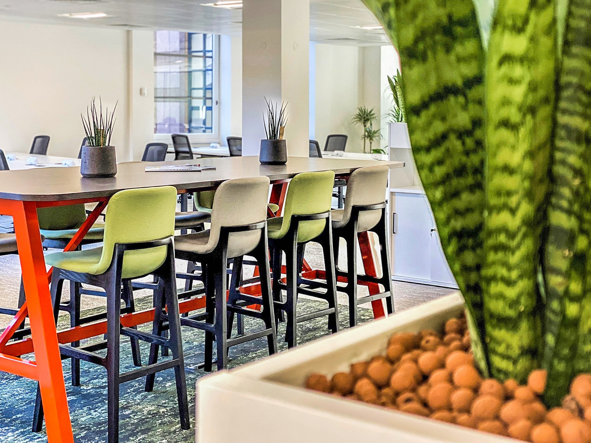 office kitchen table with stools