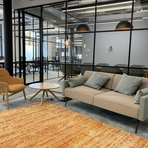 open plan office with boardroom and glass walls