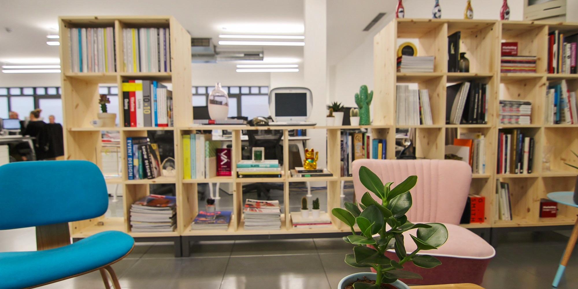 office with wooden shelf separations