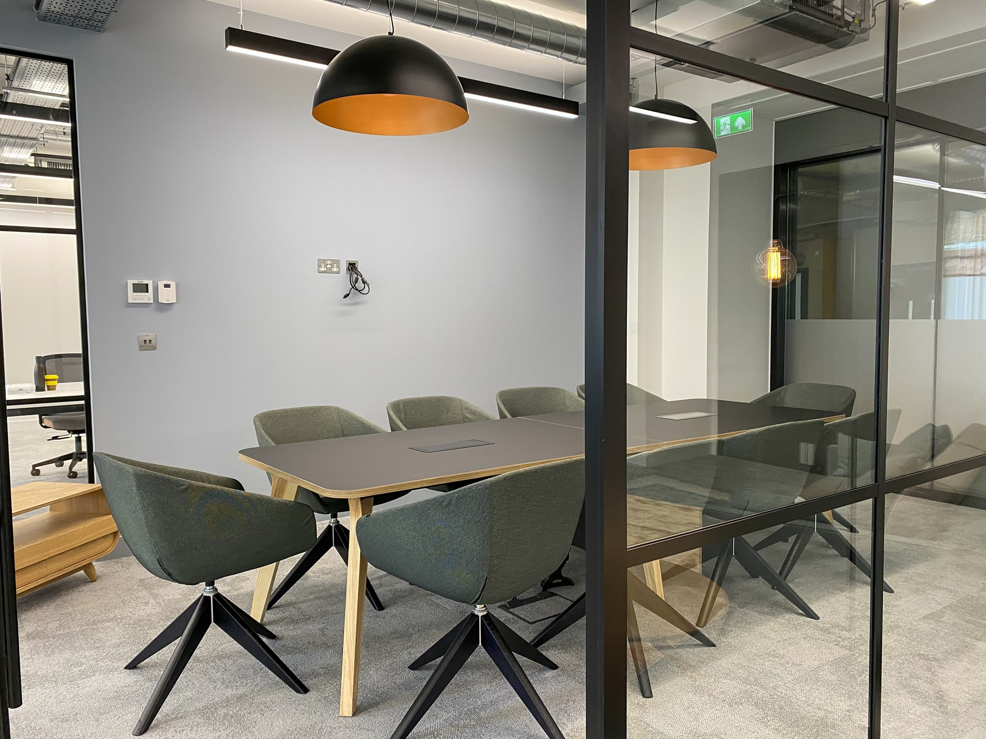 board room with office egg chairs