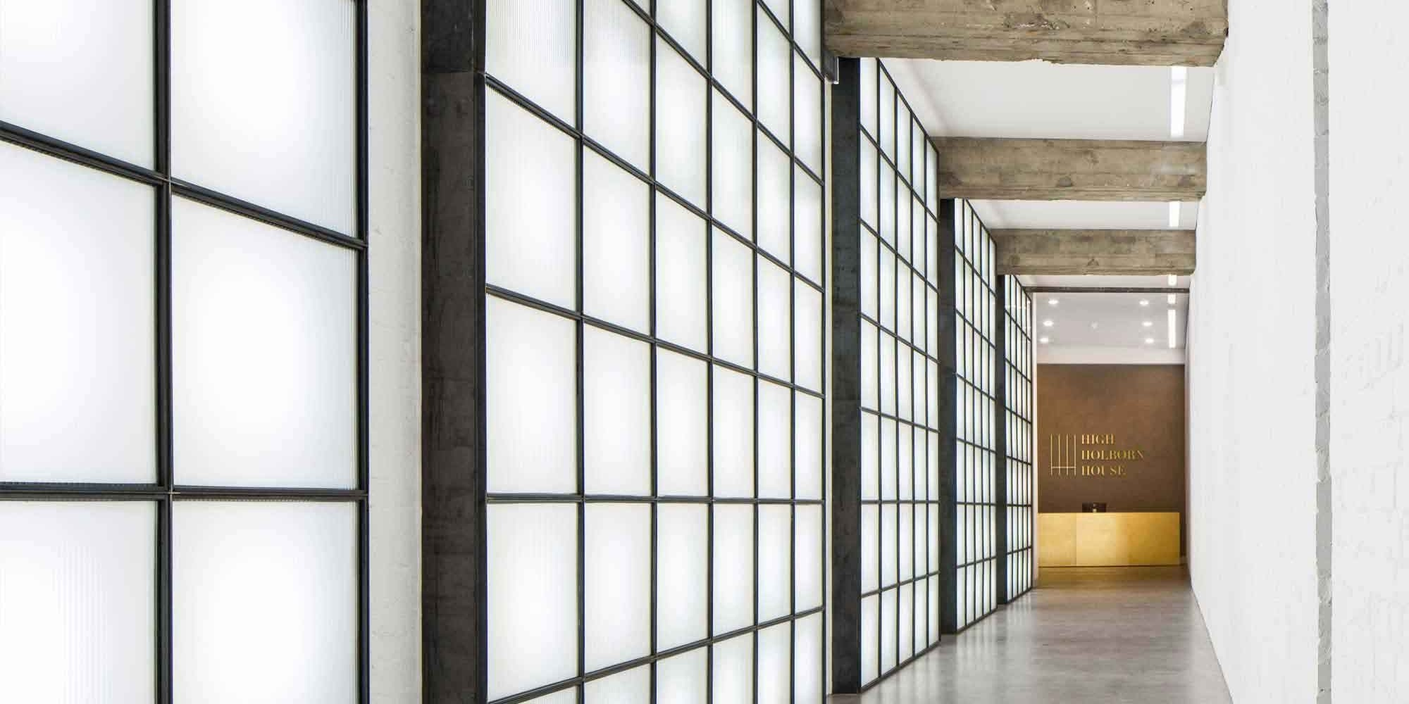 large grid design on a wall