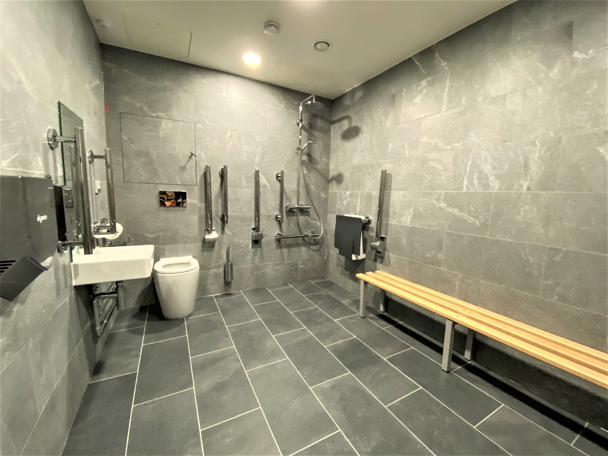 office building disabled toilet with grey tile