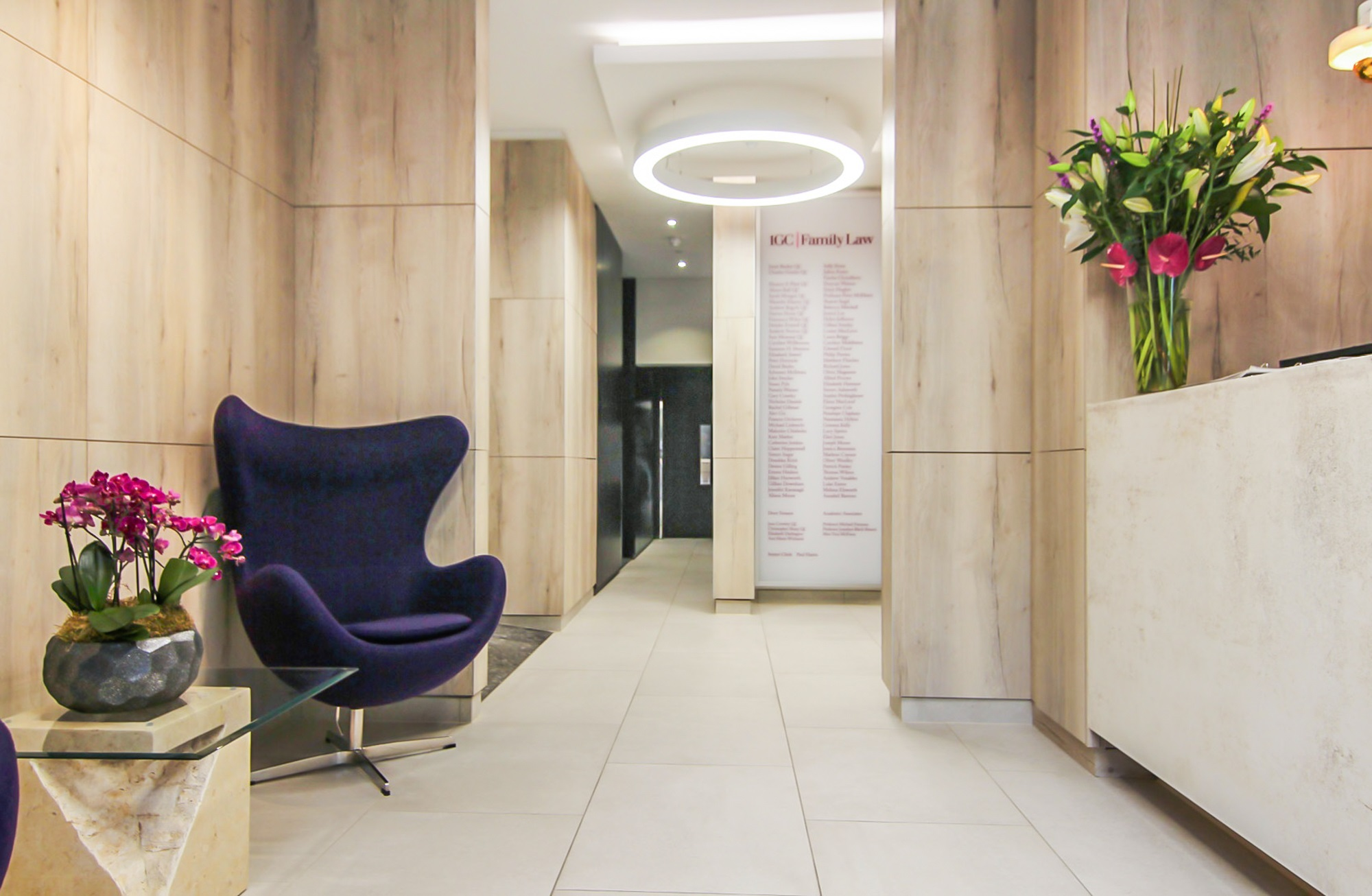 purple chair in the reception area