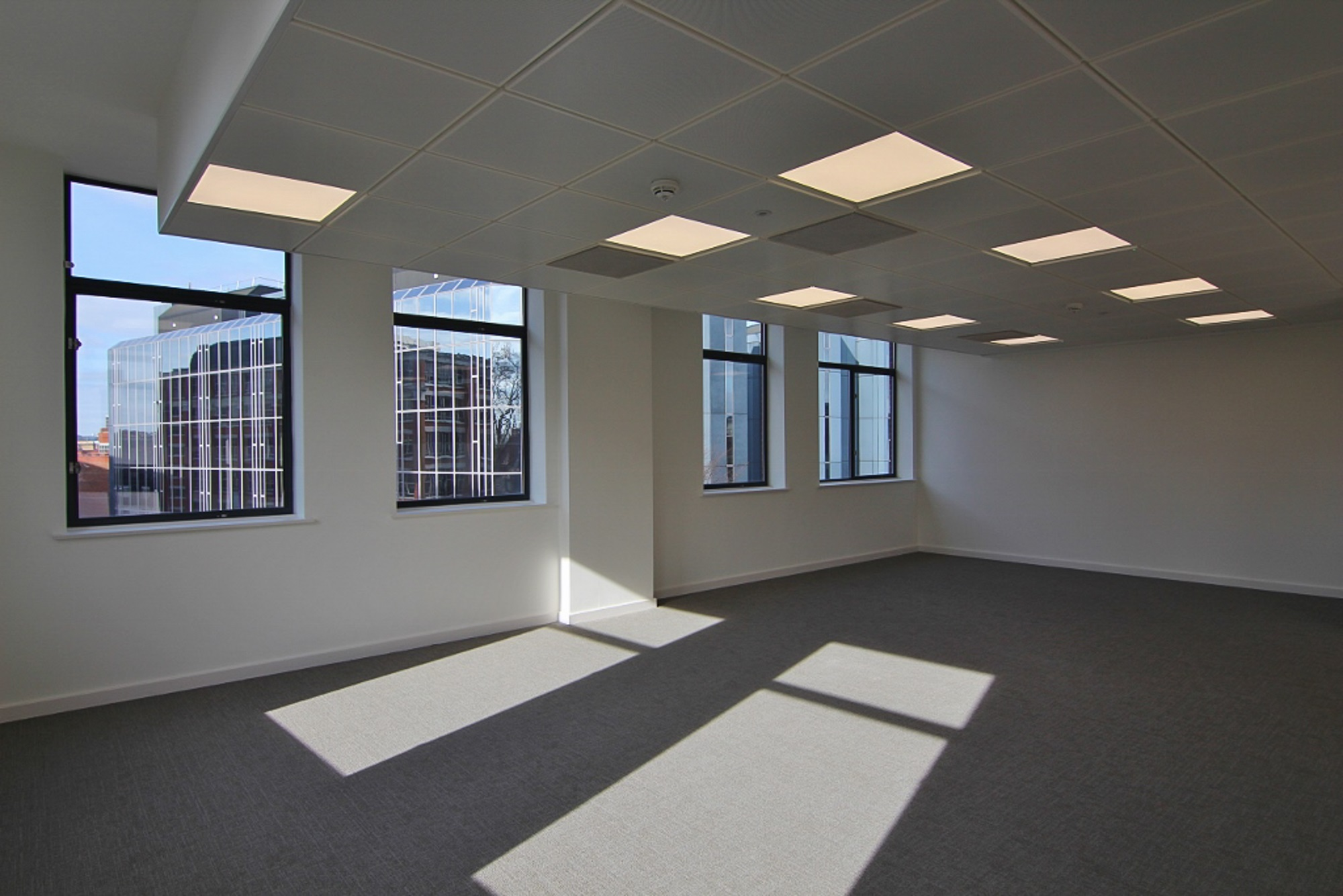 empty office with a roofline view