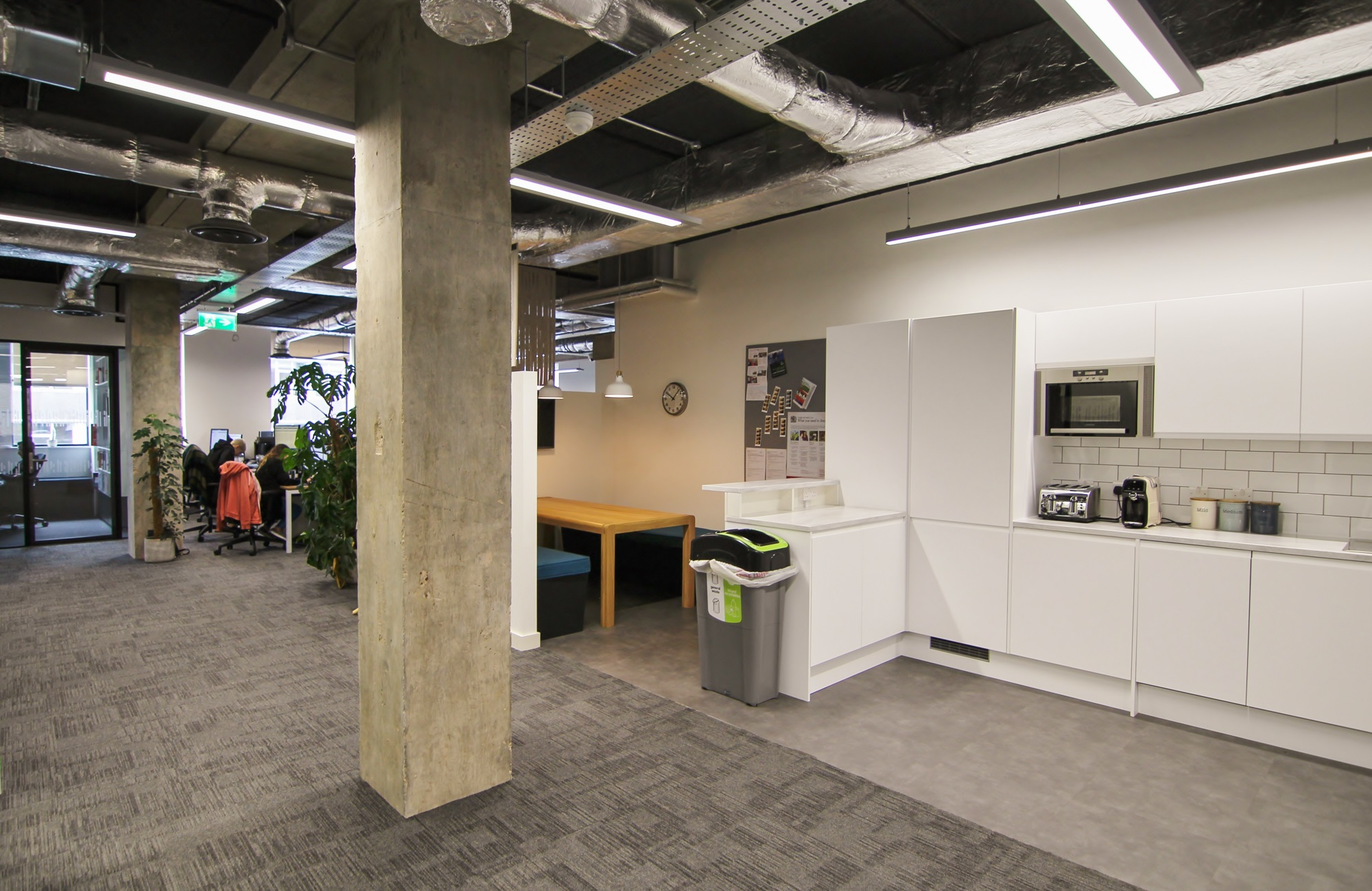 office with exposed concrete pillars