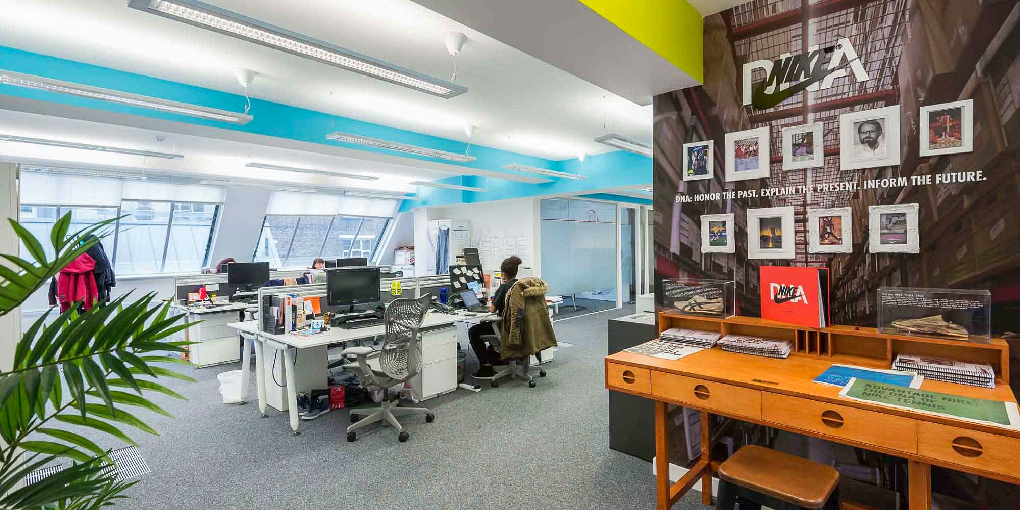 open office design with females working on computers