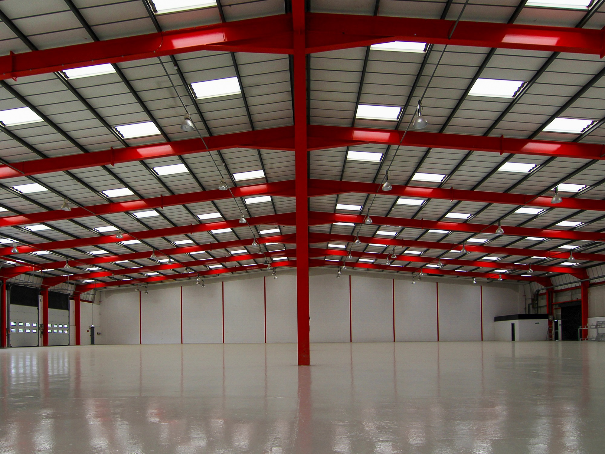 refurb warehouse with red internal structure