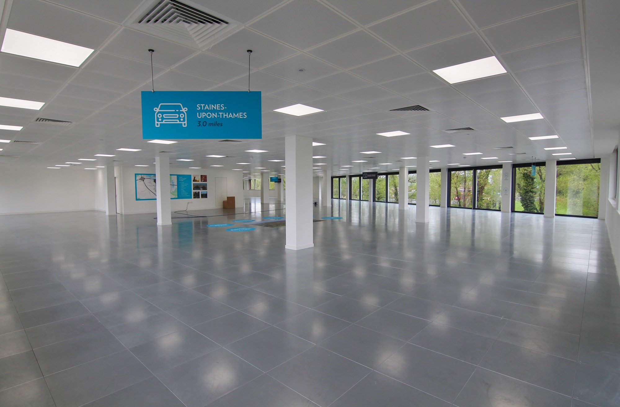 refurbished empty office space with tiled floor