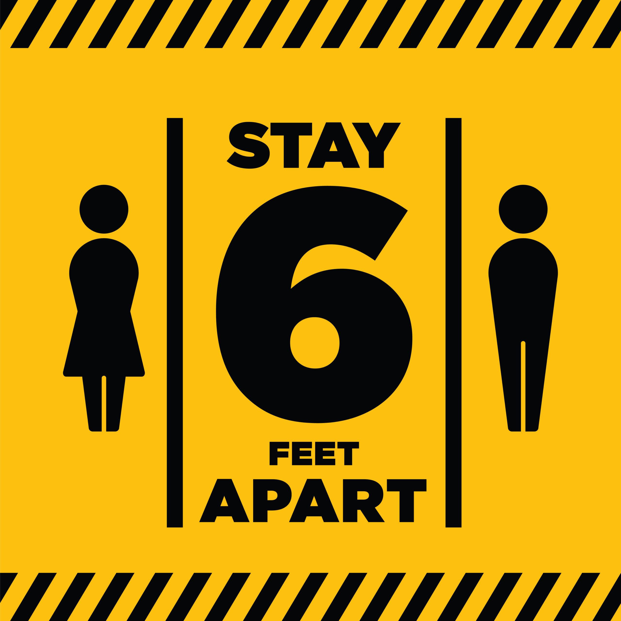 stay 6 feet apart sign in yellow